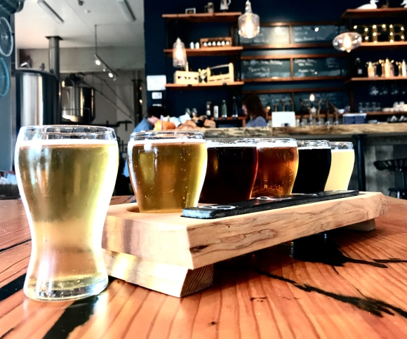 A flight of 6 core beers at Beach Fire Brewing Co.