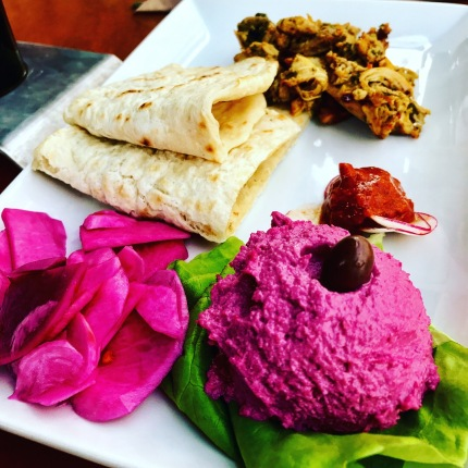 Indian inspired chicken with beet hummus
